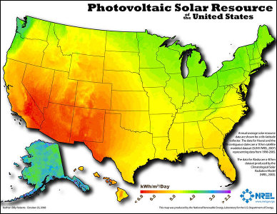 Map of solar insolation US