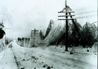 Iced power lines