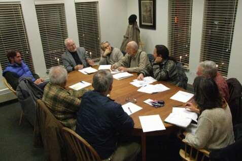 Meeting around the Skidompha library table